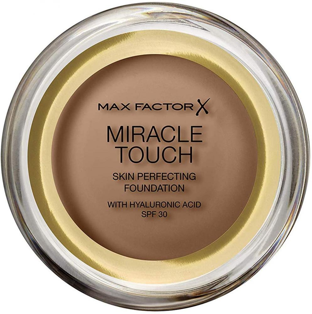 Max Factor Miracle Touch Foundation New and Improved Formula SPF 30 and Hyaluronic Acid 97 Toasted Almond 11.5 g