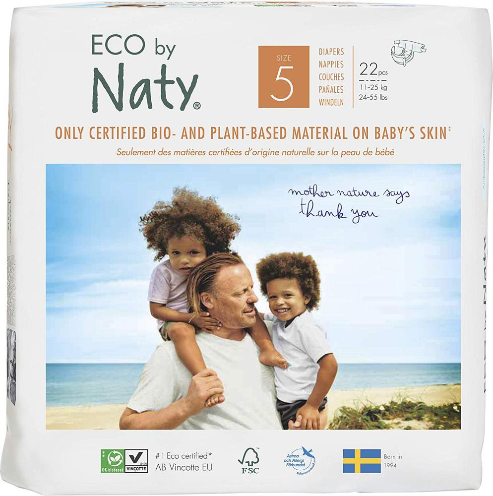 Naty By Nature Premium Disposable Diapers for Sensitive Skin Size 5 11-25 kg 22 pcs