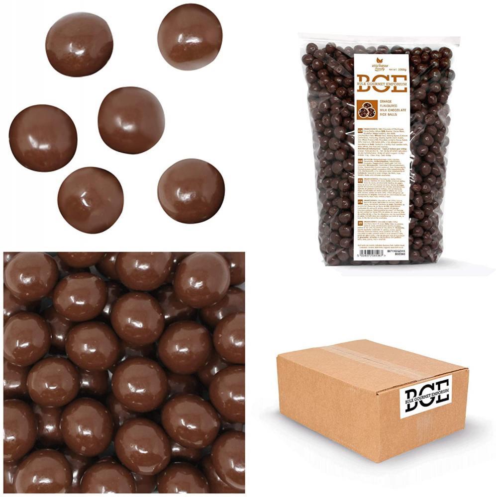 SALE  Bulk Gourmet Emporium Orange Flavoured Skinny Milk Chocolate Rice Balls 1000g