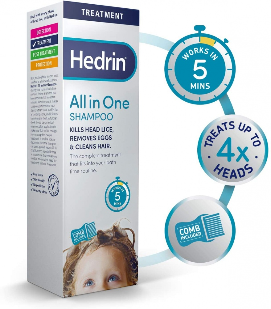 Hedrin All-in-One ShampooHead Lice Treatment with Nit Comb IncludedKills Headlice and Removes Eggs in 5 Minutes 200 ml