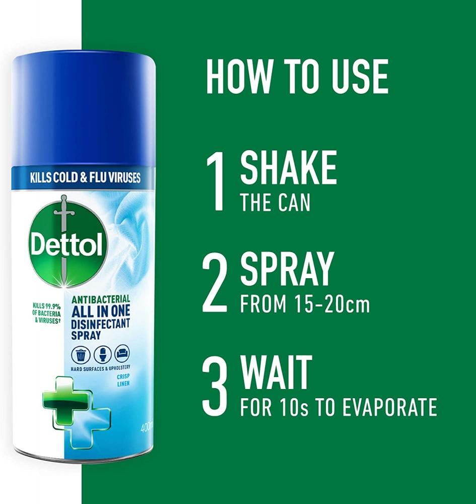Dettol All-in-One Disinfectant Spray Crisp Linen 400 ml